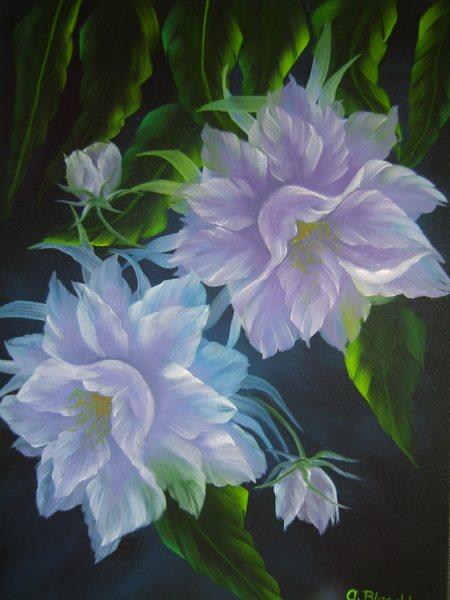 Antonie's Malerei: Blumen nach Annette Kowalski